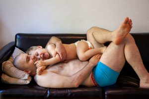 Father and child hugging